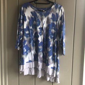 LOGO Lori Goldstein 2X blue & grey layered tunic